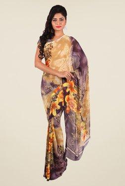 Shonaya Beige & Grey Georgette Floral Print Saree
