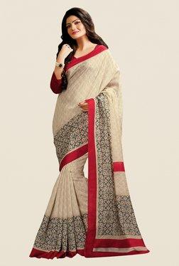 Shonaya Beige Cotton Silk Printed Saree