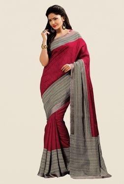 Shonaya Maroon & Grey Cotton Silk Printed Saree
