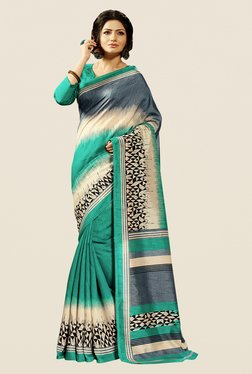 Shonaya Turquoise Cotton Silk Printed Saree