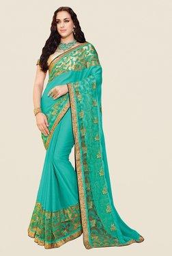 Shonaya Turquoise Chiffon Embroidered Saree