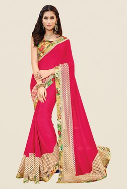 Shonaya Pink Chiffon Floral Print Saree