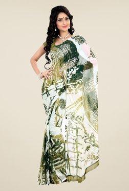 Shonaya White & Green Faux Georgette Printed Saree