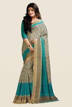 Shonaya Beige & Turquoise Cotton Silk Printed Saree - Mp000000000394092