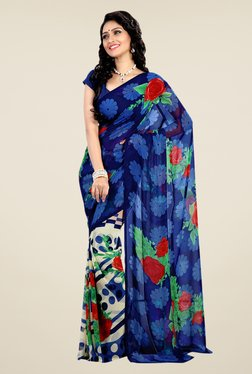 Shonaya Blue & Cream Faux Georgette Floral Print Saree
