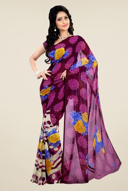 Shonaya Purple & Cream Faux Georgette Floral Print Saree