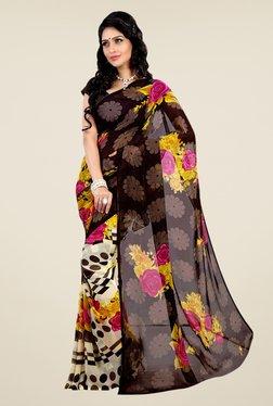 Shonaya Brown & Cream Faux Georgette Floral Print Saree