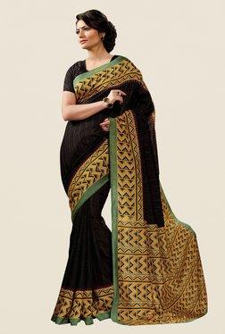 Shonaya Black & Mustard Cotton Silk Printed Saree