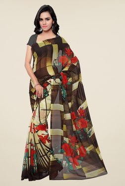 Shonaya Brown & Beige Georgette Printed Saree - Mp000000000394174