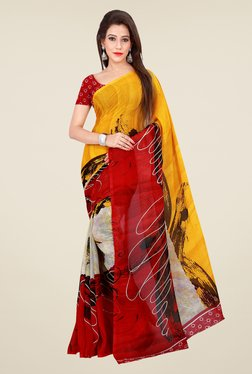 Shonaya Red & Yellow Georgette Printed Saree