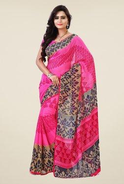 Shonaya Pink & Beige Georgette Printed Saree