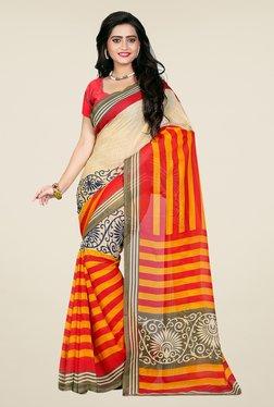 Shonaya Beige & Red Georgette Printed Saree