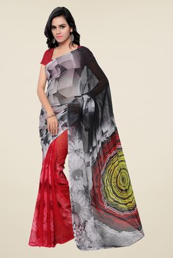Shonaya Red & Grey Georgette Printed Saree