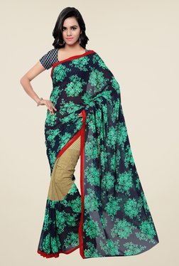Shonaya Navy & Green Georgette Floral Print Saree