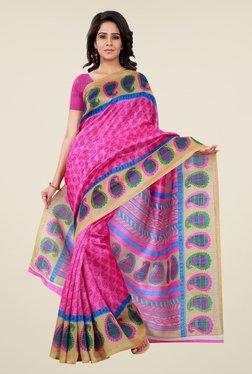 Shonaya Pink Bhagalpuri Silk Paisley Print Saree