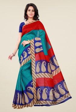 Shonaya Green & Blue Bhagalpuri Silk Paisley Print Saree