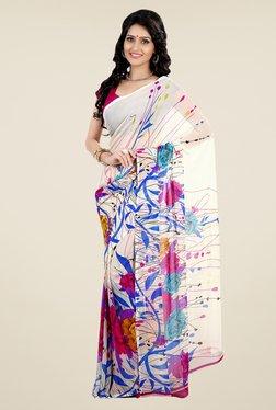 Shonaya Beige Faux Georgette Floral Print Saree