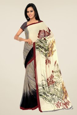 Shonaya Beige & Brown Georgette Printed Saree