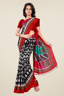 Shonaya Black & Red Bhagalpuri Silk Printed Saree