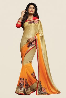 Shonaya Gold & Yellow Georgette Embroidered Saree