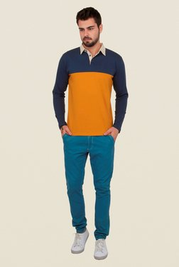Cult Fiction Mustard & Navy Solid Polo T Shirt