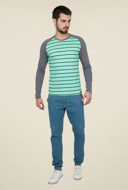 Cult Fiction Turquoise Striped T Shirt