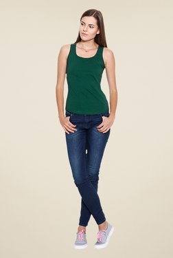 Cult Fiction Green Solid Tank Top