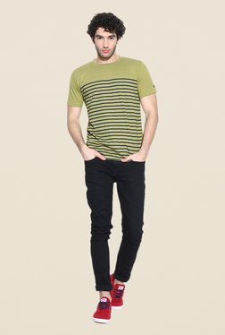 Cult Fiction Green Striped T Shirt