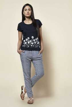 Zudio Navy Floral Print T Shirt