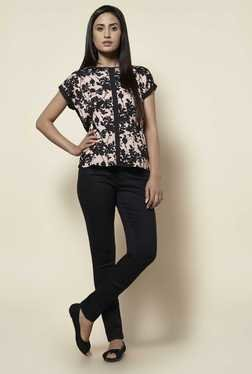 Zudio Blush Pink & Black Floral Print T Shirt