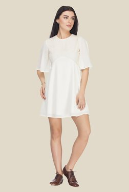 Femella Off White Solid Dress