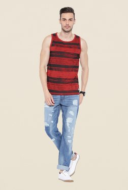 Cult Fiction Red & Black Striped Vest