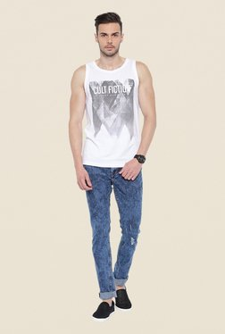 Cult Fiction White Graphic Print Vest