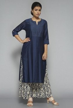 Zuba By Westside Navy Floral Print Palazzo