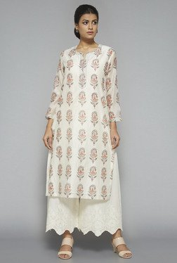 Zuba by Westside Off White Block Print Kurta