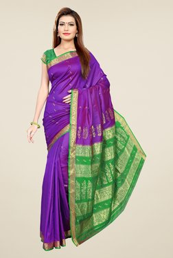 Triveni Purple & Green Printed Art Silk Saree