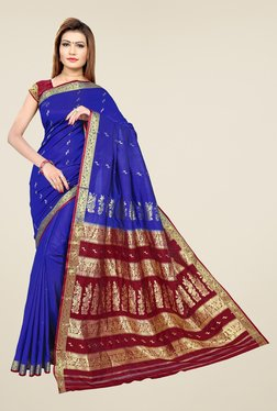 Triveni Blue & Maroon Printed Art Silk Saree