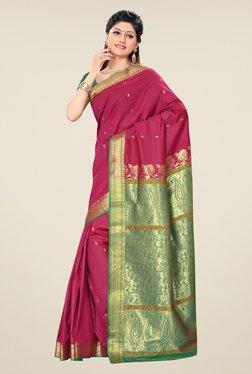 Triveni Magenta Printed Art Silk Saree