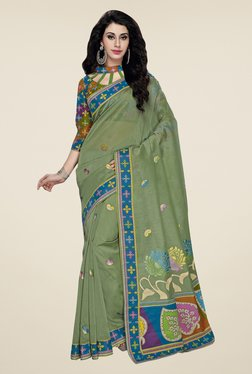 Triveni Green Embroidered Blended Cotton Saree