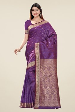 Triveni Purple Printed Art Silk Jacquard Saree