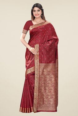 Triveni Maroon Printed Art Silk Jacquard Saree
