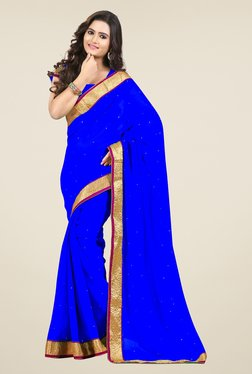 Triveni Blue Solid Chiffon Saree