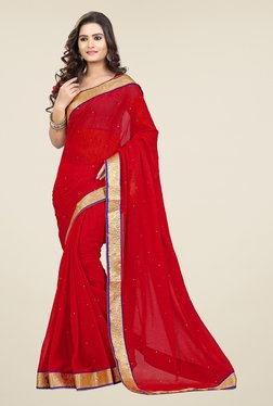 Triveni Red Solid Chiffon Saree