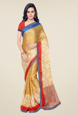Triveni Beige Printed Satin Chiffon Saree