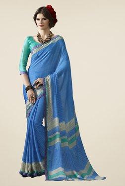Triveni Sky Blue Printed Satin Chiffon Saree