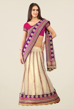 Triveni Off White Printed Net Lehenga Saree