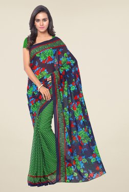Triveni Green & Blue Floral Faux Georgette Saree