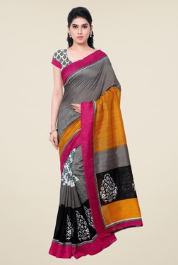 Triveni Grey Printed Art Silk Saree