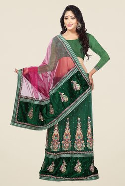 Triveni Green Printed Net Velvet Saree