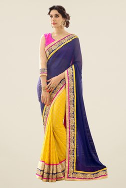 Triveni Yellow & Navy Embroidered Georgette Jacquard Saree